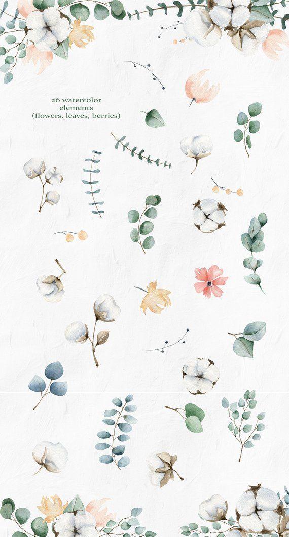 Photo of Elegant Greenery Eucalyptus Summer png Wedding clipart, eucalyptus, cotton watercolor clip art, watercolor flowers, digital cotton clipart