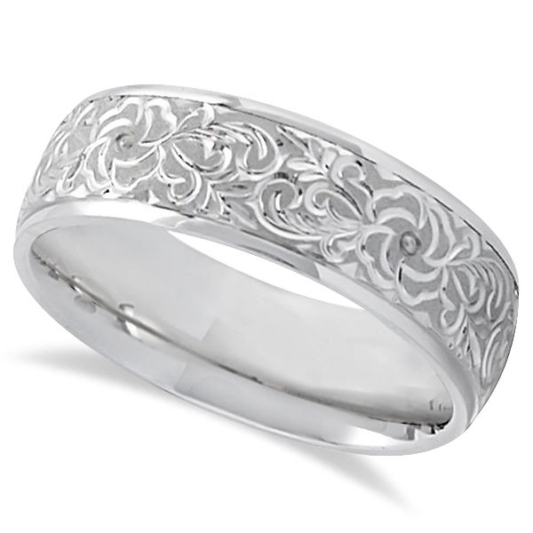 Hand Engraved Flower Wedding Ring Wide Band 14k White Gold 7mm In