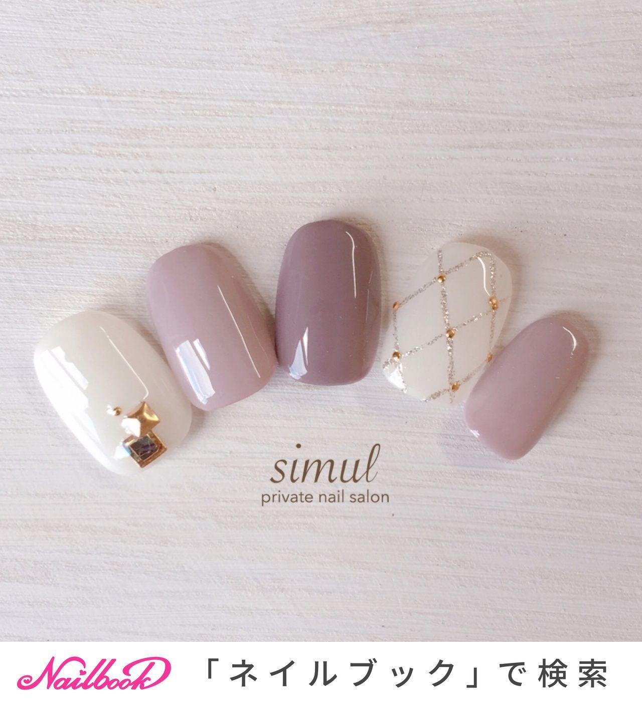 秋/冬/シンプル/ワンカラー/ビジュー , simulのネイルデザイン