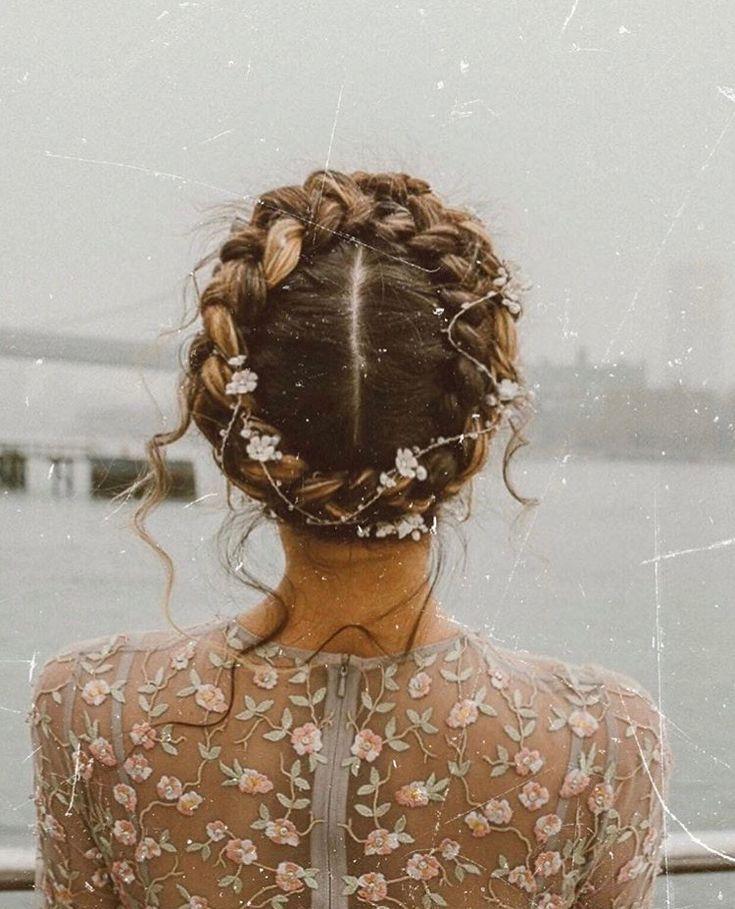 Crown Braid Wedding Hairstyles: Whimsical Crown Braid #flowers