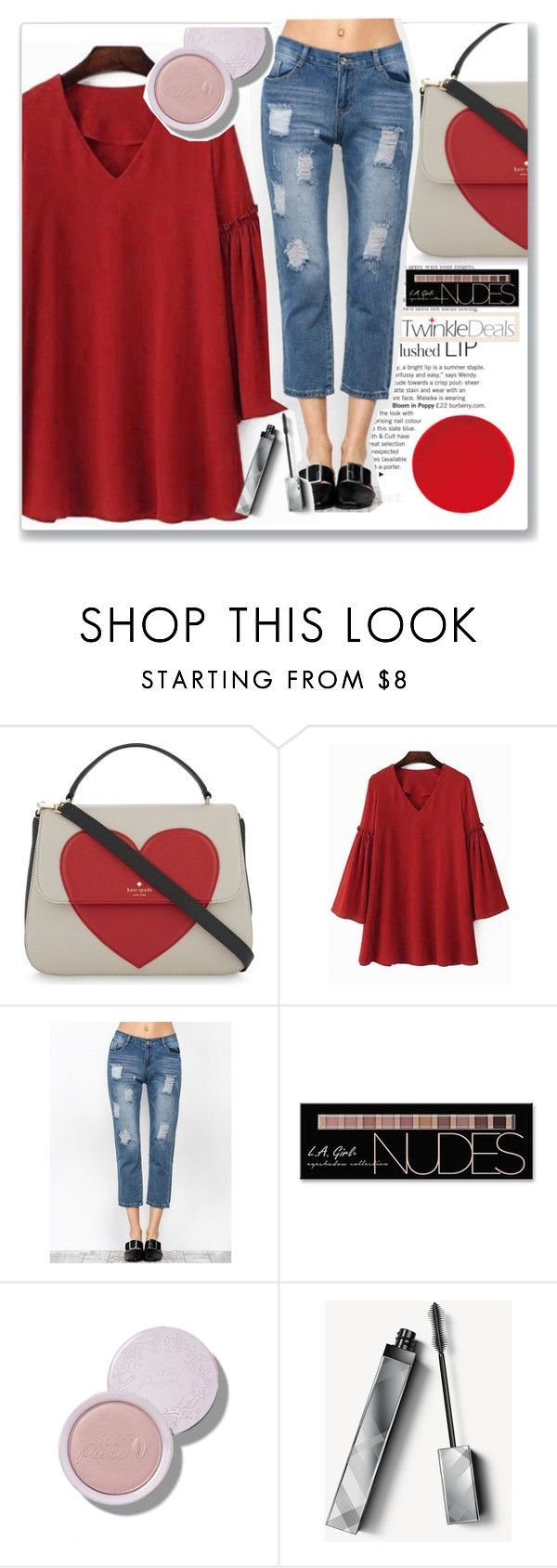 """""""TwinkleDeals"""" by k-lole ❤ liked on Polyvore featuring Kate Spade, Charlotte Russe, Burberry, love, red, denim and twinkledeals"""