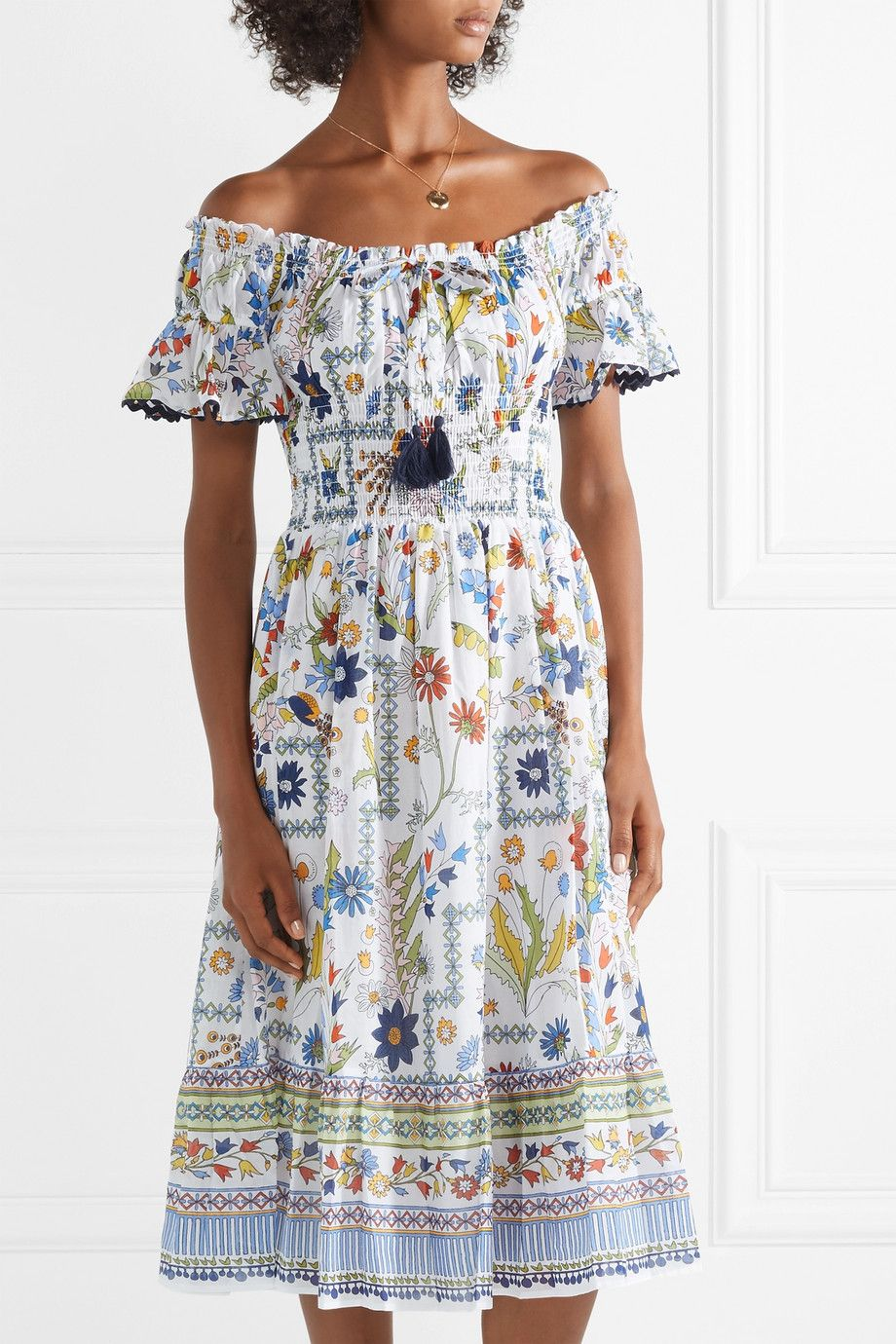 43322cf15610a Tory Burch | Off-the-shoulder printed cotton-voile dress | NET-A-PORTER.COM