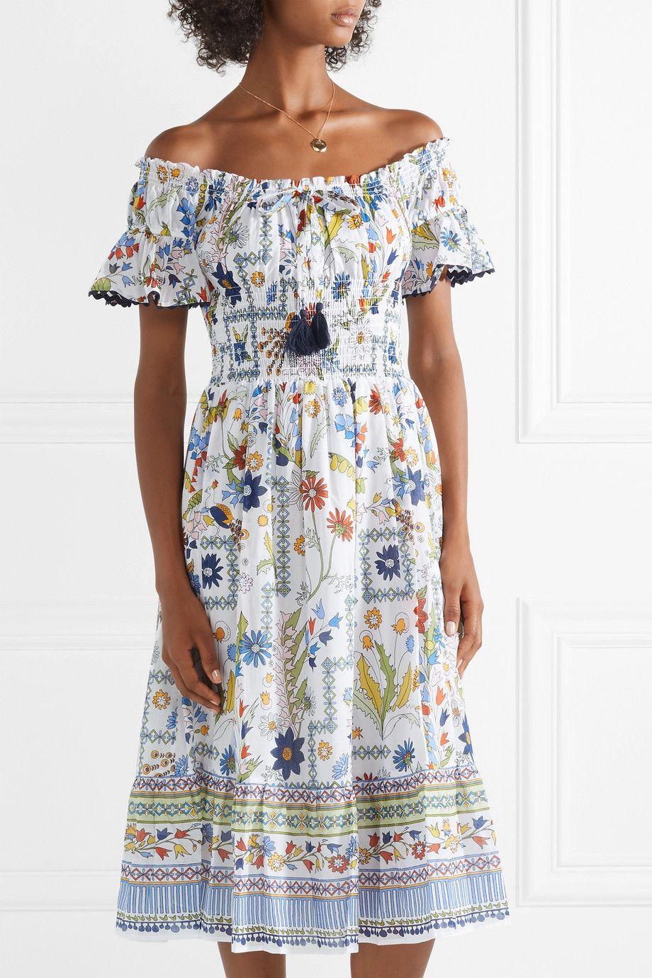 9a0e7f0c43 Tory Burch | Off-the-shoulder printed cotton-voile dress | NET-A-PORTER.COM