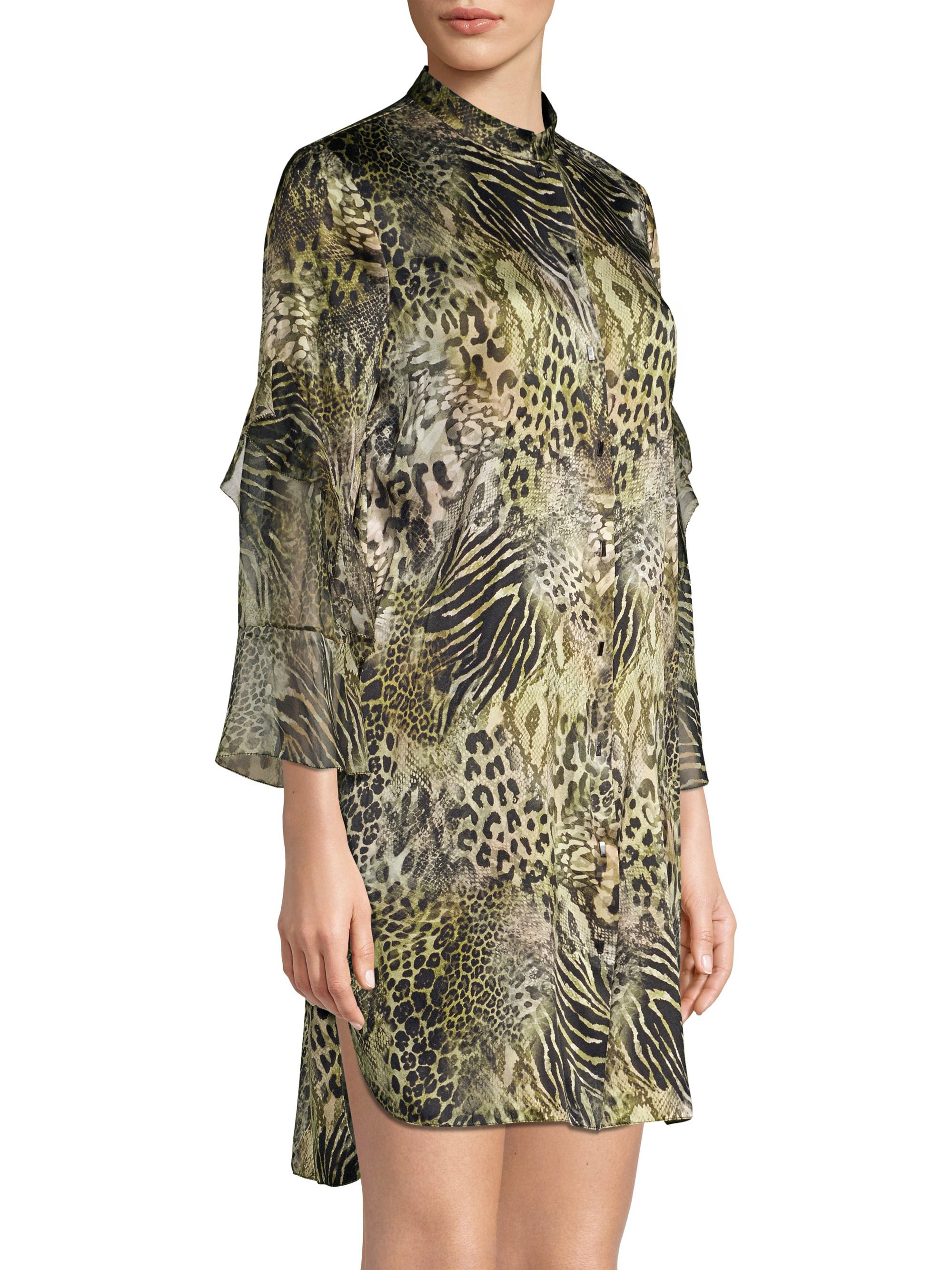 6960d52f0fcc Elie Tahari Sawyer Safari Animal Print Silk Dress - Olivine Multi X-Small