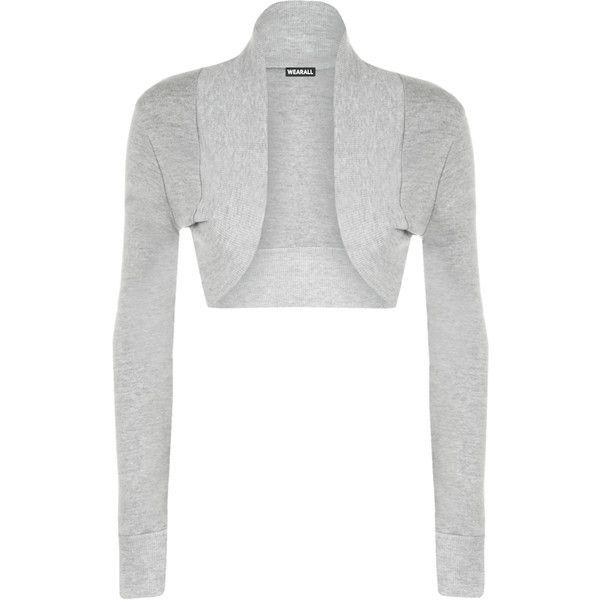 WearAll Plus Size Basic Long Sleeve Shrug ($14) ❤ liked on ...