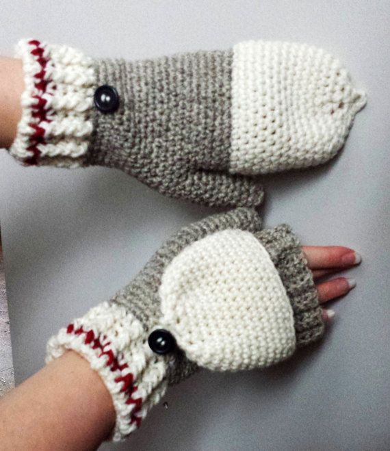 Work Sock Glittens Crochet Pattern Convertible Mittens Gloves ...