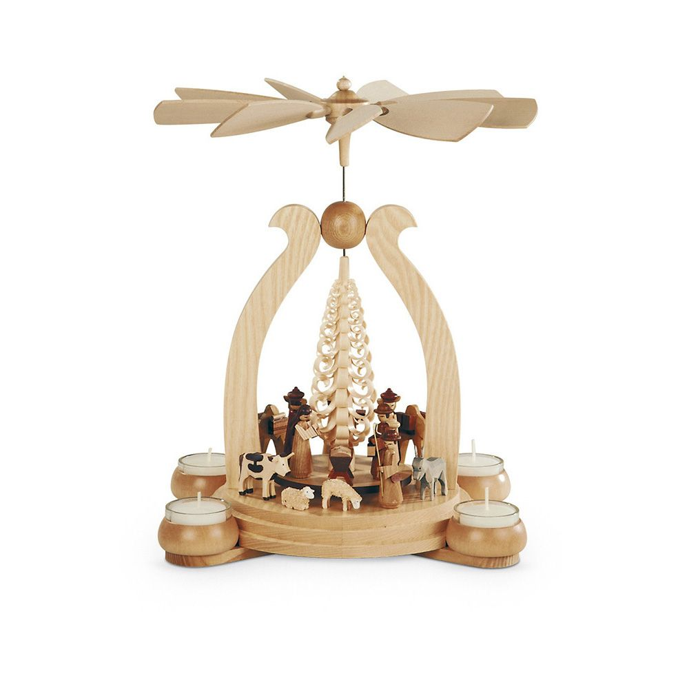 Mueller - Pyramid Arch, Large, Christmas Story with Woodshaving Tree - Wooden Duck Shop