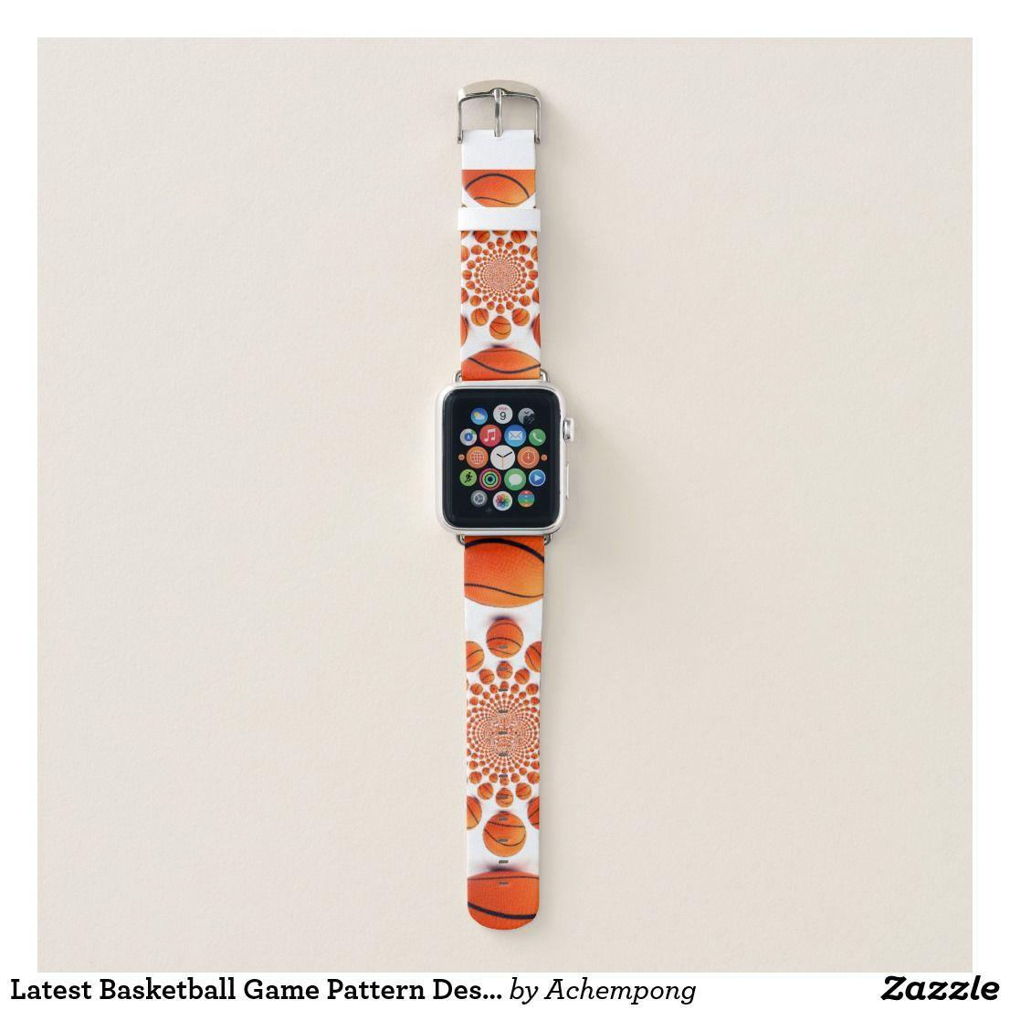 Latest Basketball Game Pattern Design Apple Watch Band Zazzle