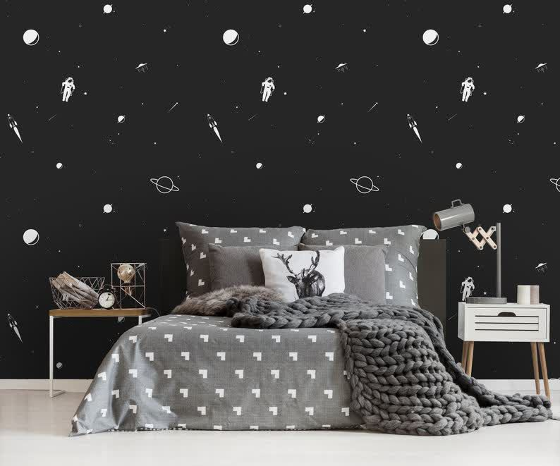 Removable Wallpaper Minimalistic Space Wallpaper Self Etsy Grey Wallpaper Bedroom Grey And White Wallpaper Removable Wallpaper