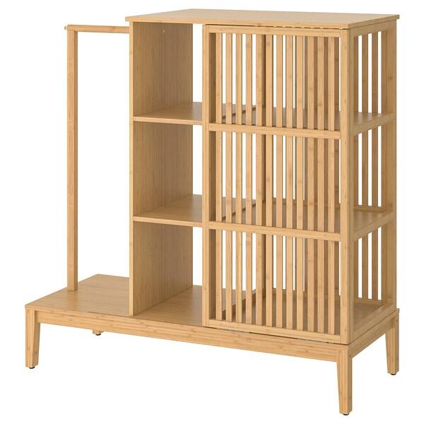 Nordkisa Open Wardrobe With Sliding Door Bamboo Ikea Armoire Ouverte Armoire Porte Coulissante Meuble Bambou