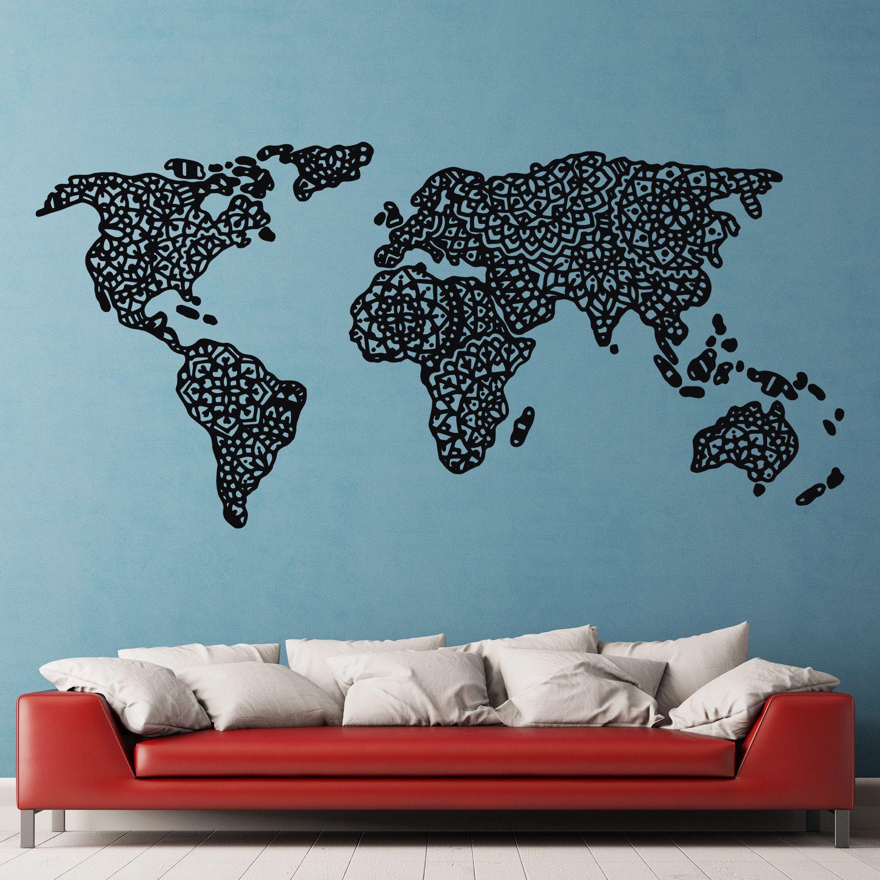 Mandala world map mandala create and wall decals mandala world map dee cal frenzy wall decor gumiabroncs Images