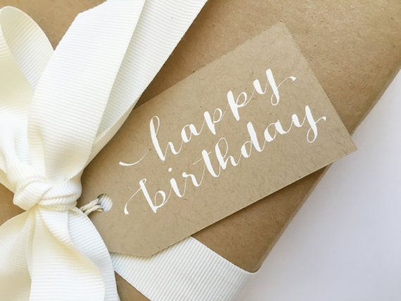 Happy BIRTHDAY Modern Calligraphy Tag hand lettered personalized ...