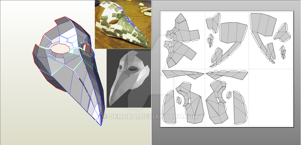 This is a Pepakura model for a plague doctor mask somewhat based off