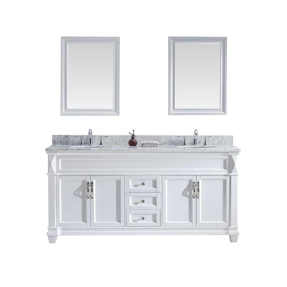 Virtu Usa Victoria 72 In W Bath Vanity In White With Marble