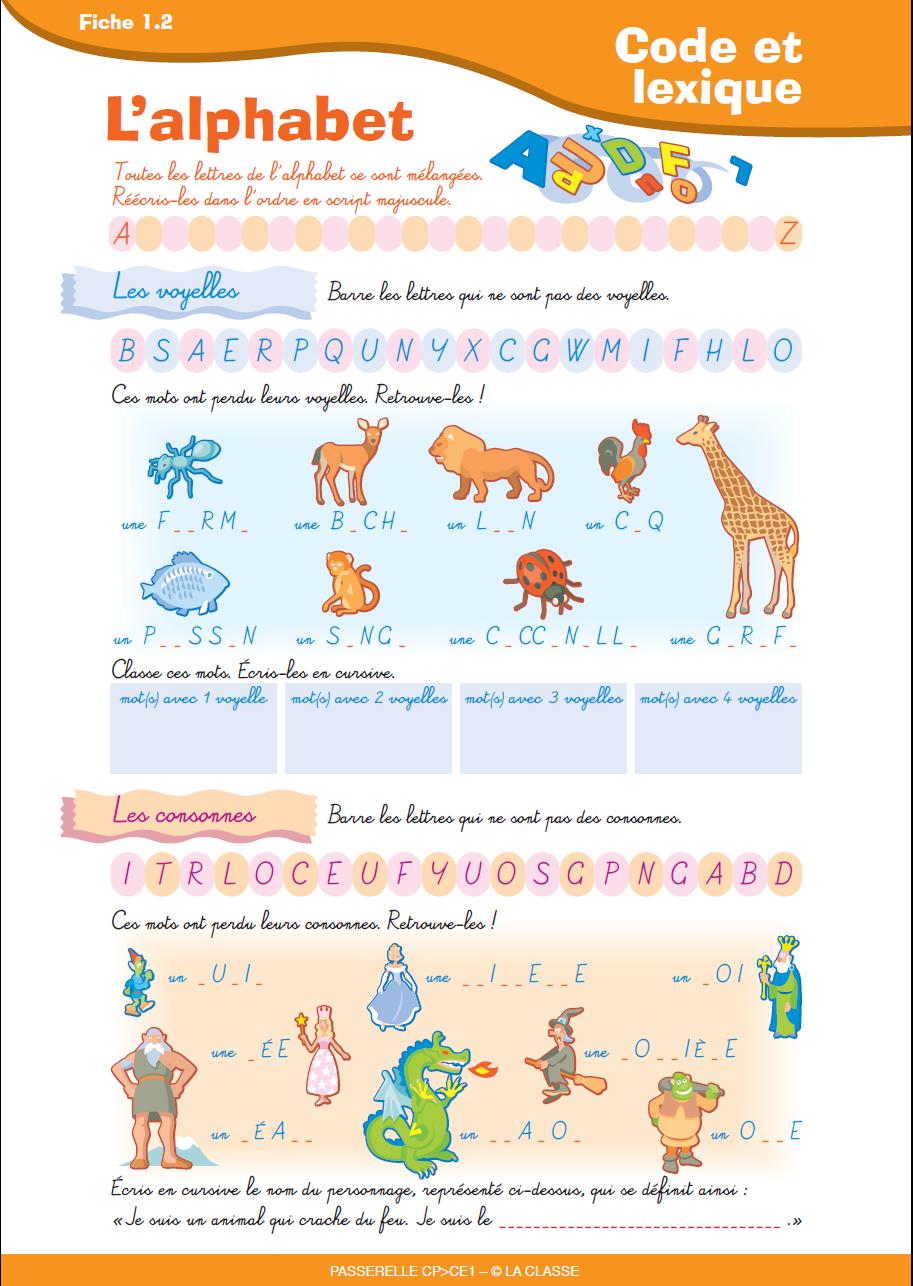 Exercices sur l alphabet les lettres les consonnes et - L alphabet en francais a imprimer ...