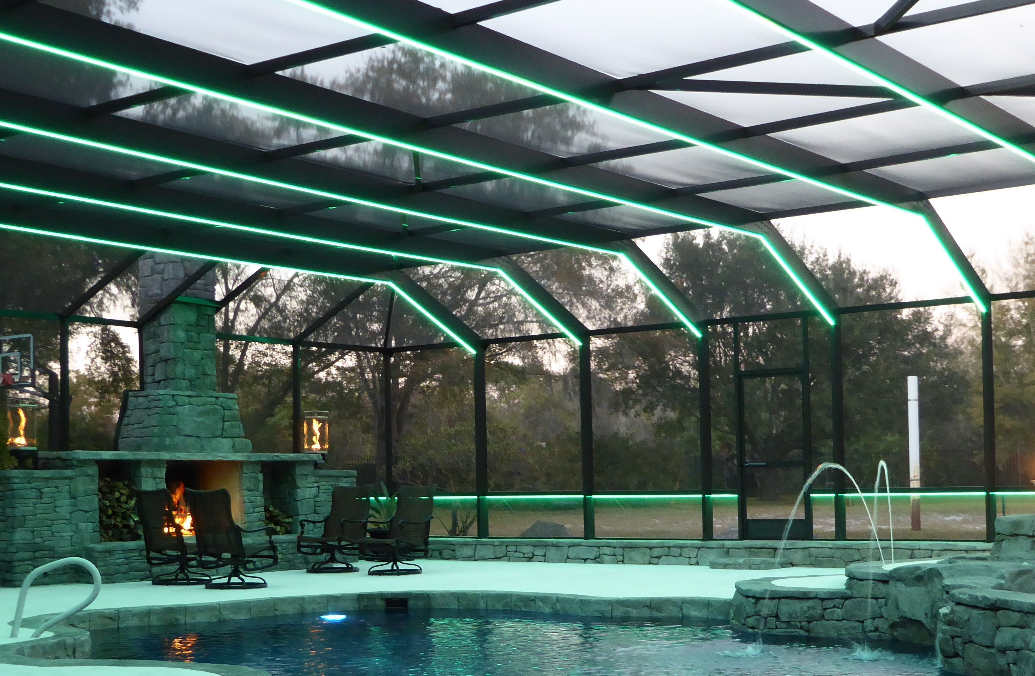 Light Up Your Florida Pool Enclosure With Any Color You Can Imagine White Or Bronze Aluminum Fixtur Pool Enclosure Lighting Best Outdoor Lighting Florida Pool