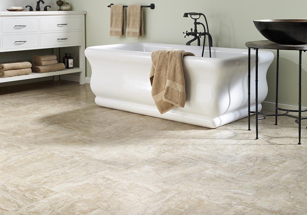 Resilient Sheet Luxury vinyl flooring, Small bathroom