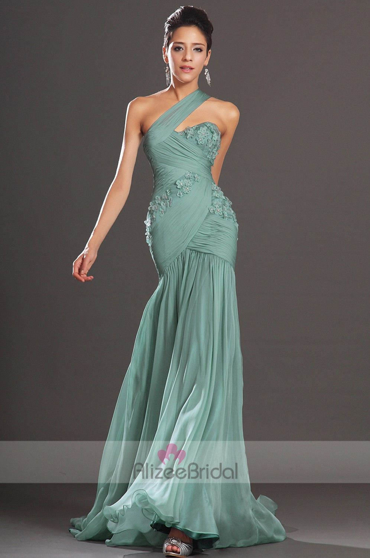 Green Mermaid Prom Dress   Green One Shoulder Floor Length Chiffon ...