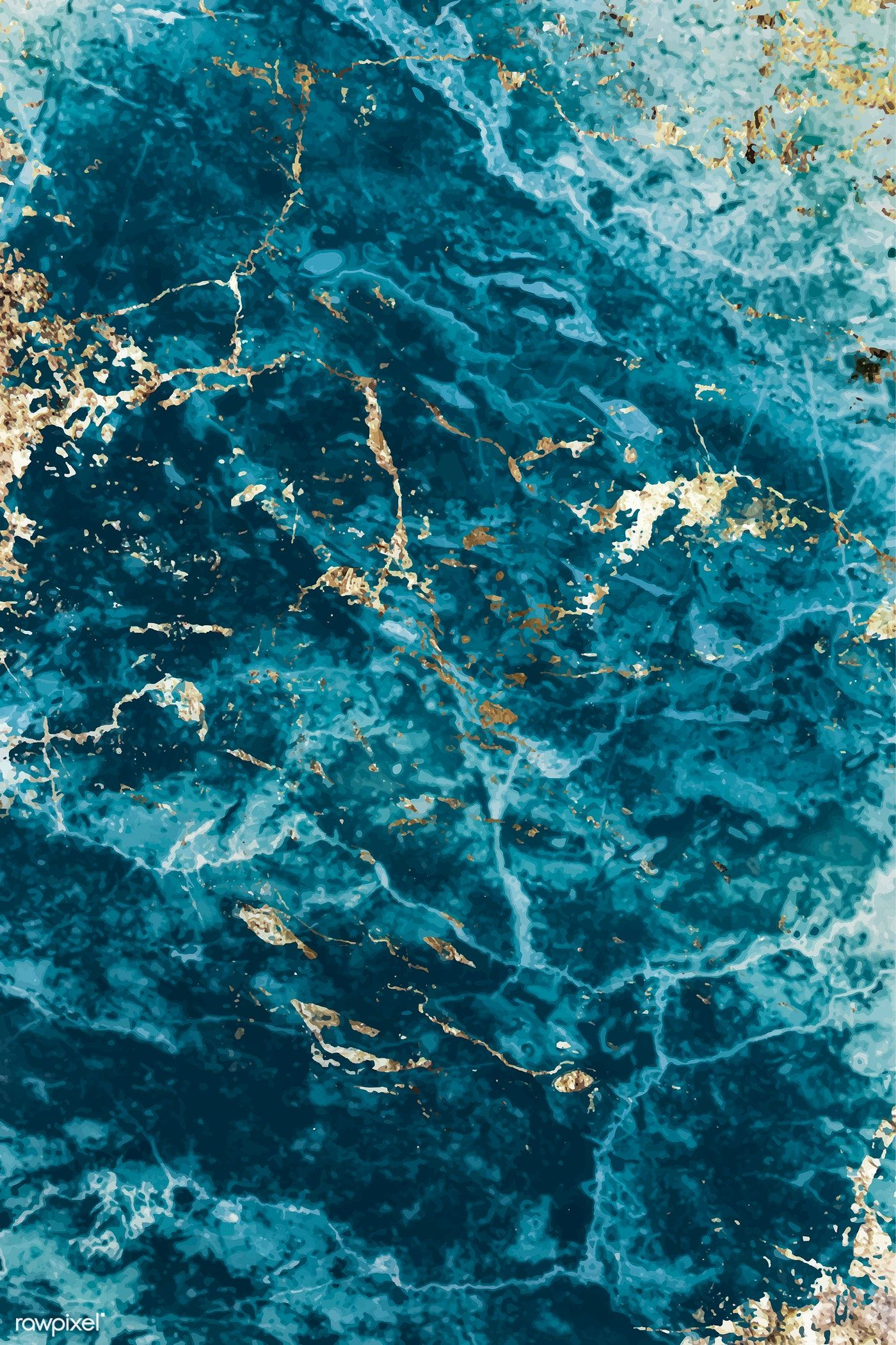 Blue And Gold Marble Textured Background Vector Free Image By