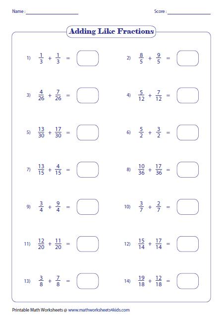 Adding Like Fractions