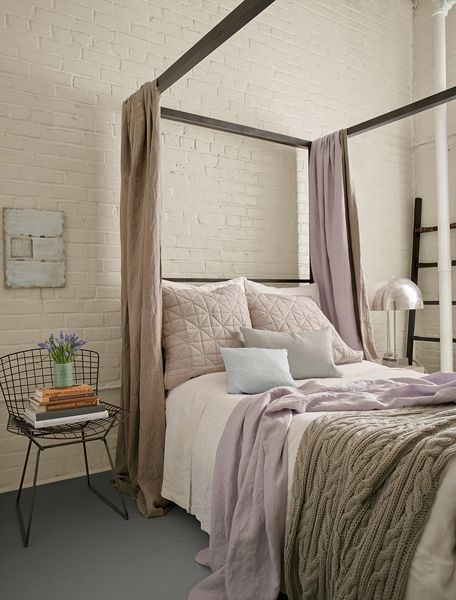 Benjamin Moore Color Trends 2014 - Wall: clay beige Aura Satin - love the  bedding colors in this room