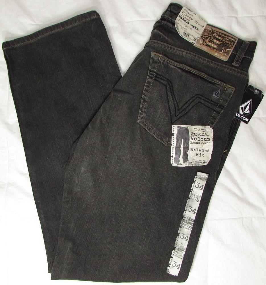 567c6b6ce0b Volcom Jeans Relaxed Fit Straight Leg Distressed Faded Black sz 34 X 32 NWT  NEW #Volcom #RelaxedStraightLeg