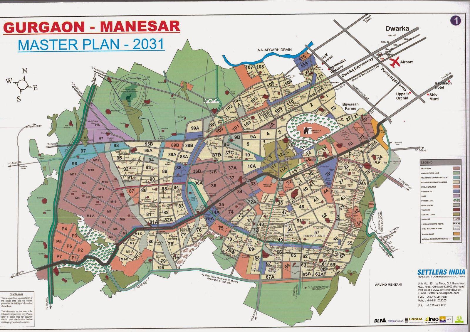 Gurgaon Manesar master Plan 2031 Gurgaon Location Map