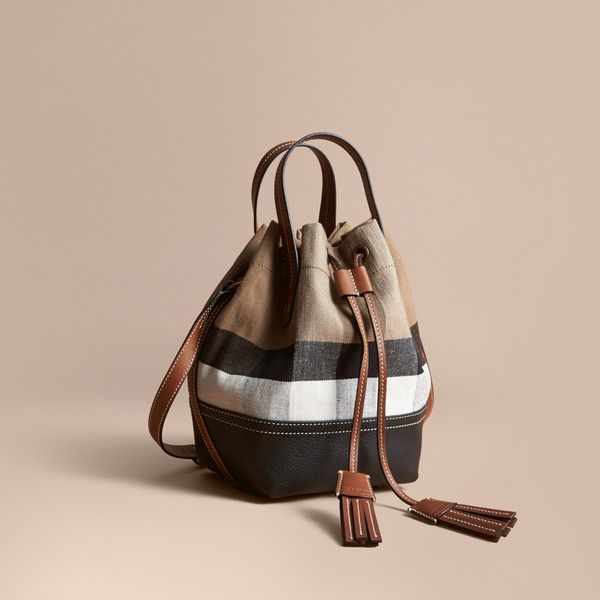 427824a0c Burberry Small Canvas Check and Leather Bucket Bag (1,200 CAD) ❤ liked on  Polyvore featuring bags, handbags, shoulder bags, pink leather handbags, ...