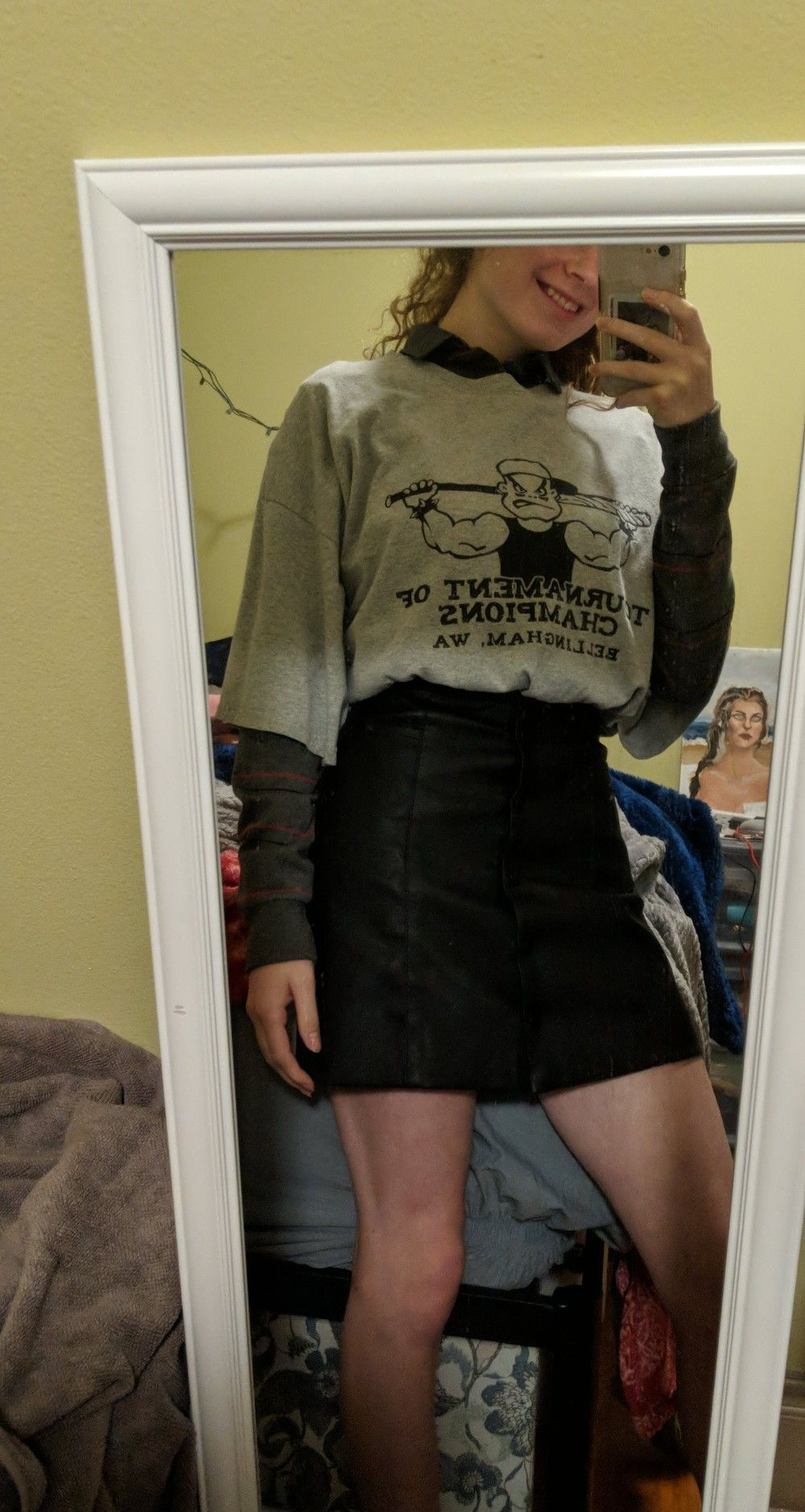 Outfits Grunge Oversized Egirl Tumblr Aesthetic Blackskirt Leatherskirt Vintage Thrifting Outfits Fashion Leather Skirt