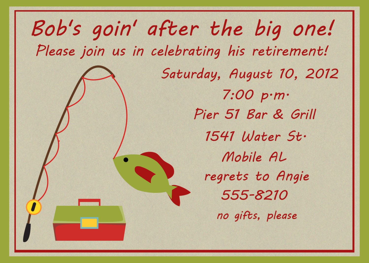 Gone Fishing Retirement party invitation printable 5x7 4x6 or 4x5