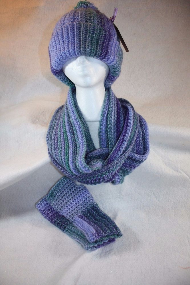 Double Wrap Cowl, Fingerless Gloves and Hat set- Free Shipping #Handmade #CowlInfinity
