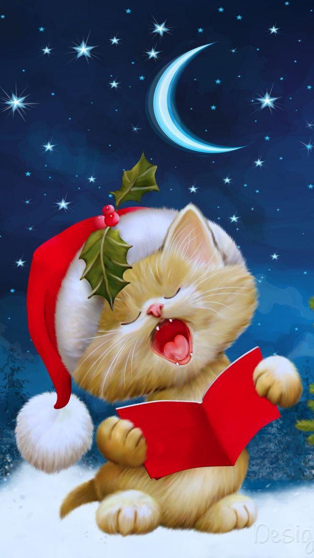 640x1136 Новый год, рождество, кот, открытка обои iPhone ...
