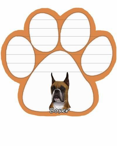 Boxer Cropped Dog Paw Magnetic Note Pads