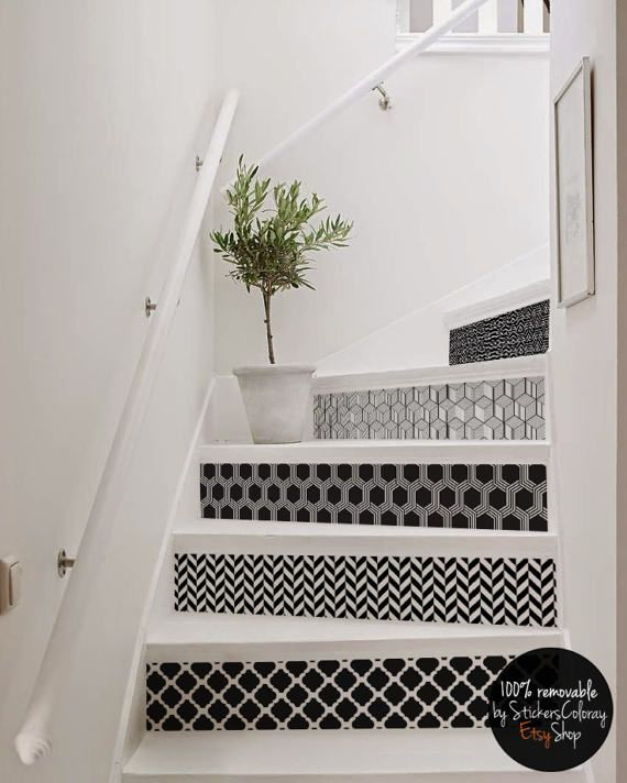 10 Step Stair Riser Decal Geometric B W Patterns Stair Sticker Op Art Removable Stair Riser Decor Strip Peel And Stick Stair Riser 15r Idee Deco Escalier Decoration Escalier Decoration Interieure Facile