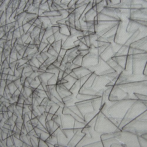 Modern embroidery with scattered line pattern; stitch detail; sewing; textiles design // Roanna Wells