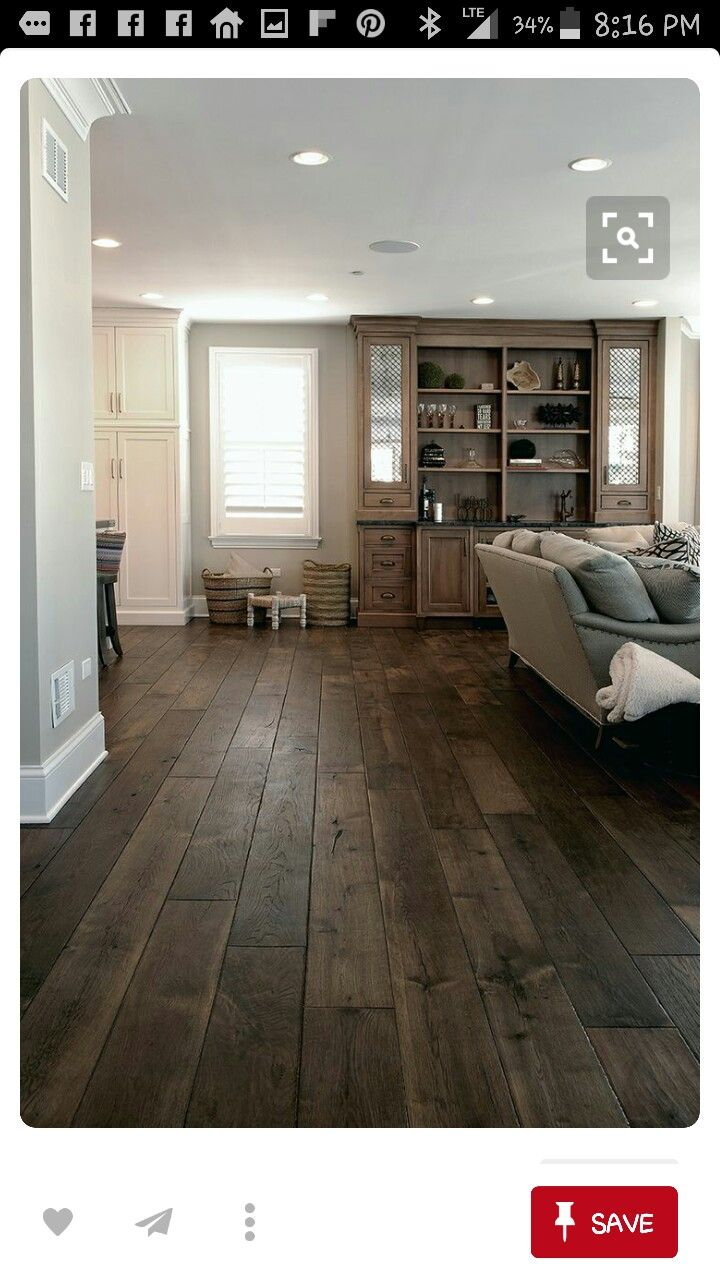 Wide plank hardwood floors stained dark design project for Decoracion piso 65 m