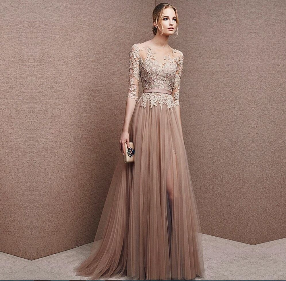Brown Tulle Bridesmaid Dress Lace | Mothers., Sleeve and Plus size ...
