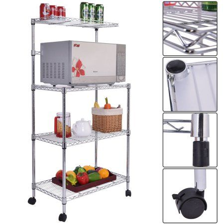 Utility Shelves Walmart Amusing Costway 3Tier Kitchen Baker's Rack Microwave Oven Stand Storage Design Decoration