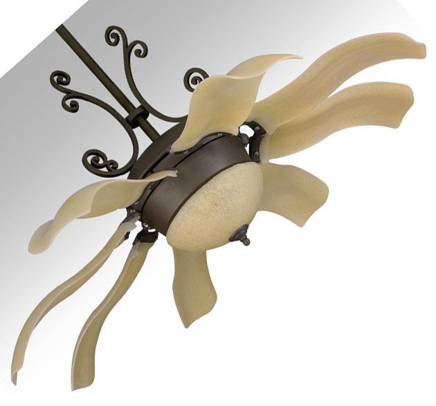 Blades hang vertically to look like a flower blossom when turned off.