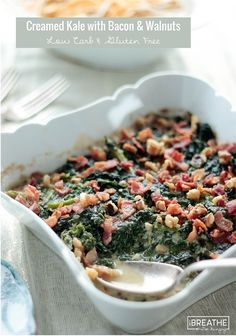 Creamed kale with bacon and walnuts! This easy low carb creamed kale recipe is a delicious way to get your healthy greens in! Your family and friends will love it! Atkins, gluten free, Keto, low carb friendly.