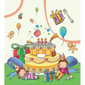 Big Cake And Beautiful Gifts In Background On Cute School Children Having Fun Birthday Party