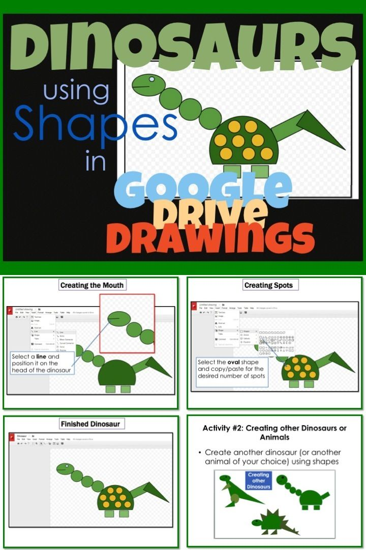 Google Drive Create a Dinosaur using Shapes in Google