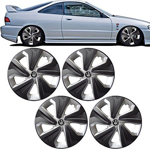 15 Inch OE Replacement Wheel Cover Caps Hubcaps Tire Cover Black Silver 4PC