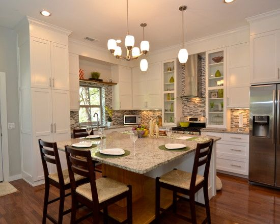 Eat In Kitchen Table Designs : Traditional Kitchen With Eating Space At The  Island Table And