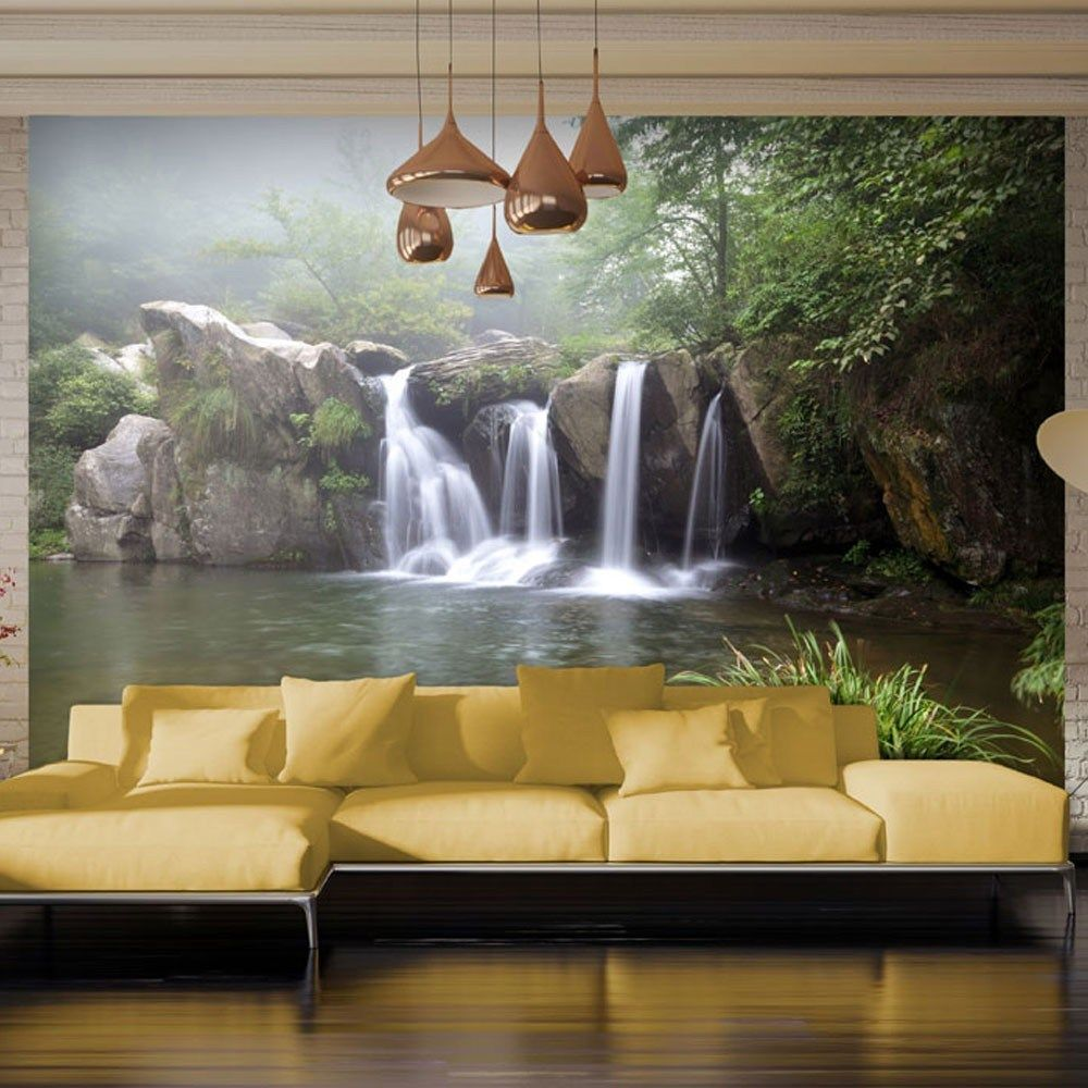 Living Room Background Animated: River & Waterfalls Wallpaper Murals, Large 3d Wallpaper