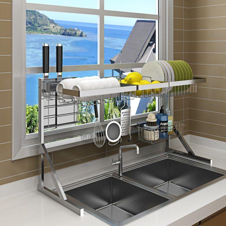 Black Stainless Steel Kitchen Rack Sink Sink Dish Rack Drain Bowl