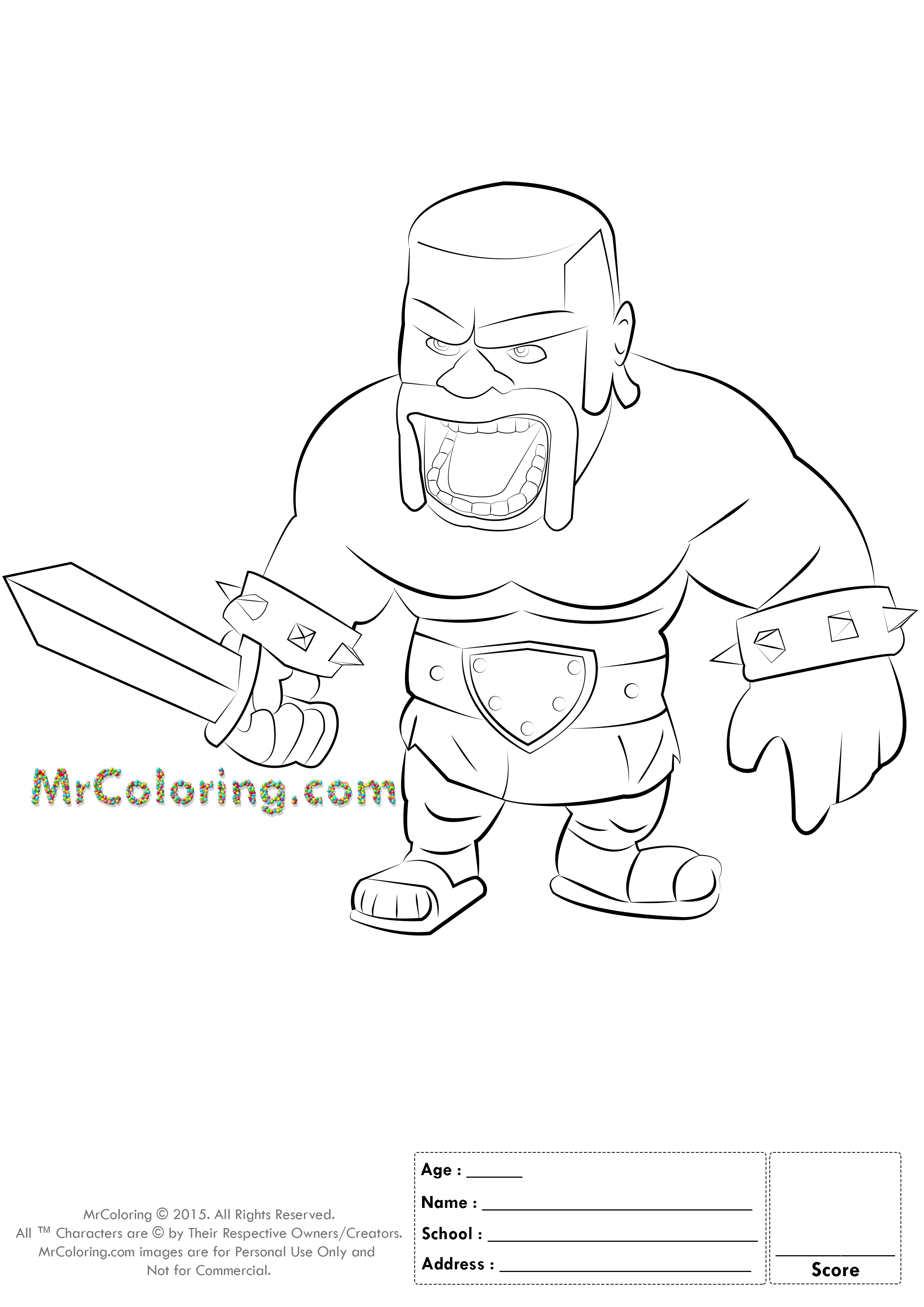 Coloring page xbox - Free Printable Clash Of Clans Barbarian Coloring Pages 1