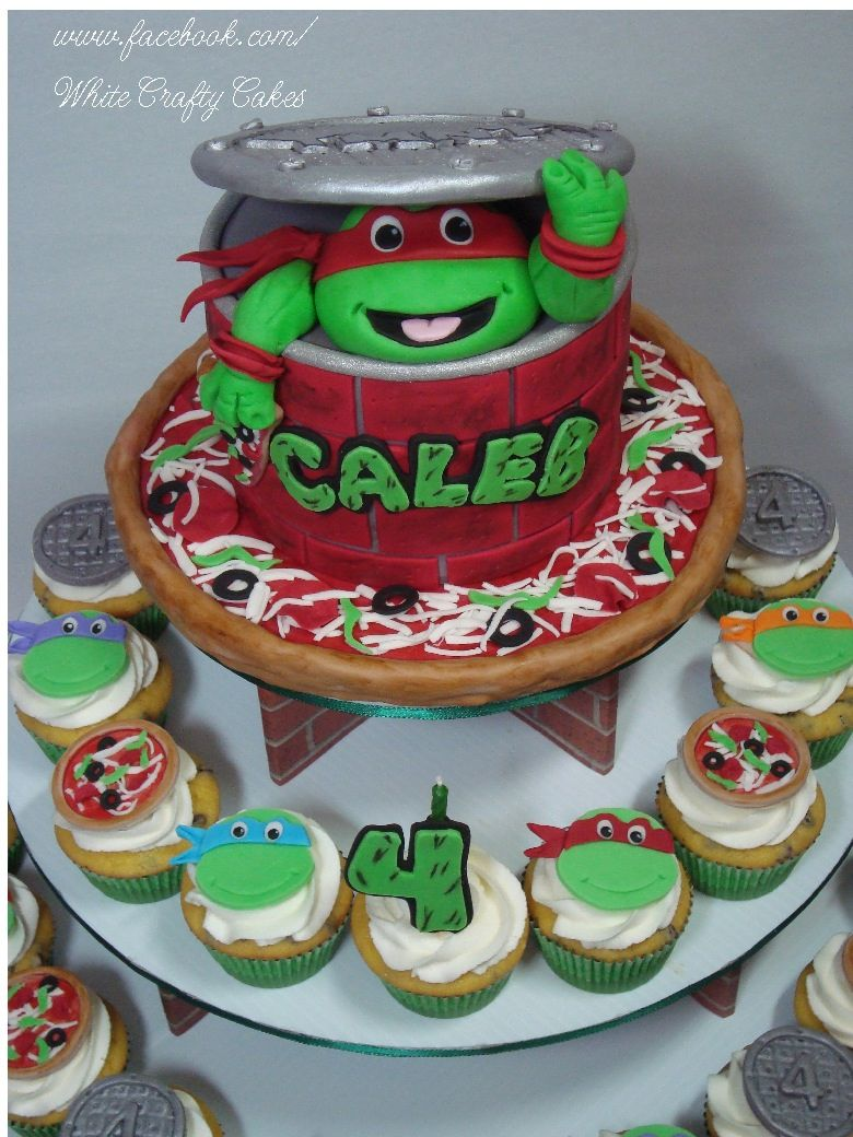 TMNT Cupcake Tower A smaller version of my TMNT cake with Calebs