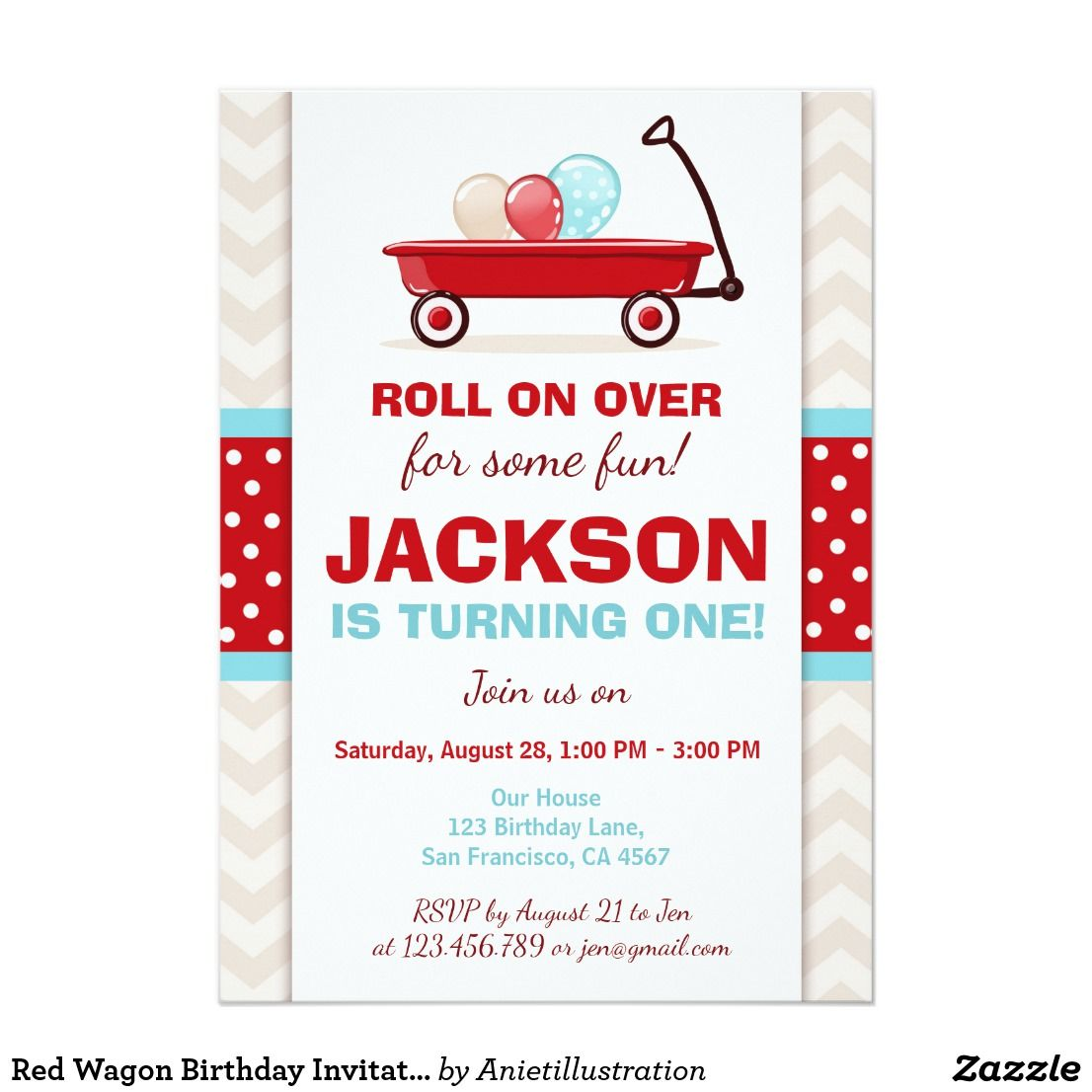 Red Wagon Birthday Invitation Litte Red Wagon Blue | First birthday ...