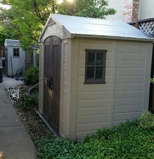Keter Factor 8 Ft X 6 Ft Outdoor Storage Shed 213039 The Home Depot Outdoor Storage Sheds Outdoor Storage Buildings Shed